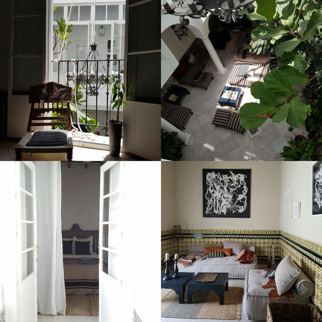 4 Bilder mit Blick in Innenhof, ins Zimmer und Lounge - Rundreise Andalusien, Reiseführer Andalusien