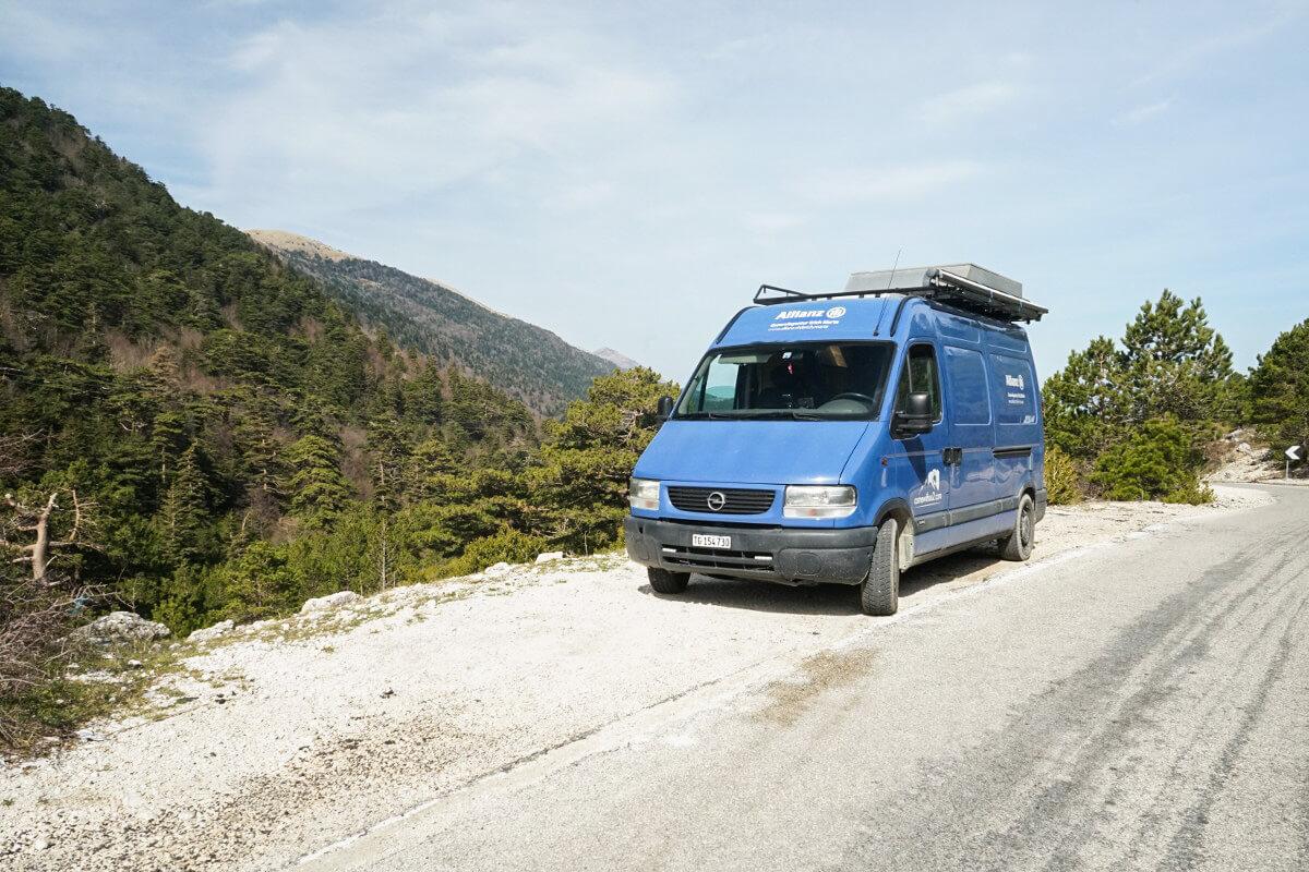 Camper, Wald, Strasse, Llogara-Pass, Albanien Reisen