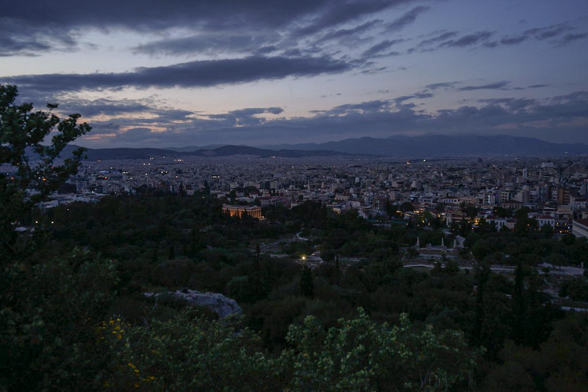 Eindunkeln, Stadt, Wolken - Sehenswürdigkeiten Athen