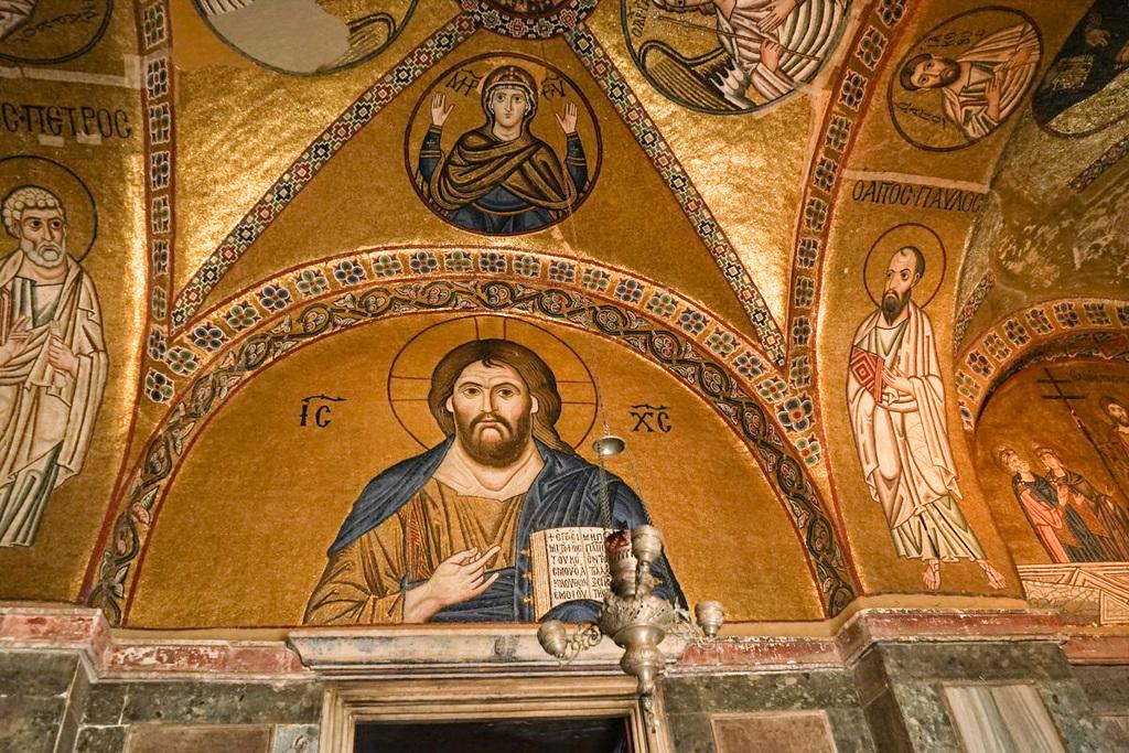 Portraits und darum Gold-Mosaik, Hosios Loukas, Katholikon, Lukas Kirche