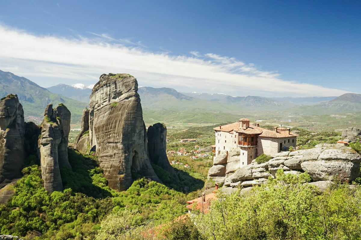 Felsen, Kloster, Weite - Aussicht auf Meteora Klöster