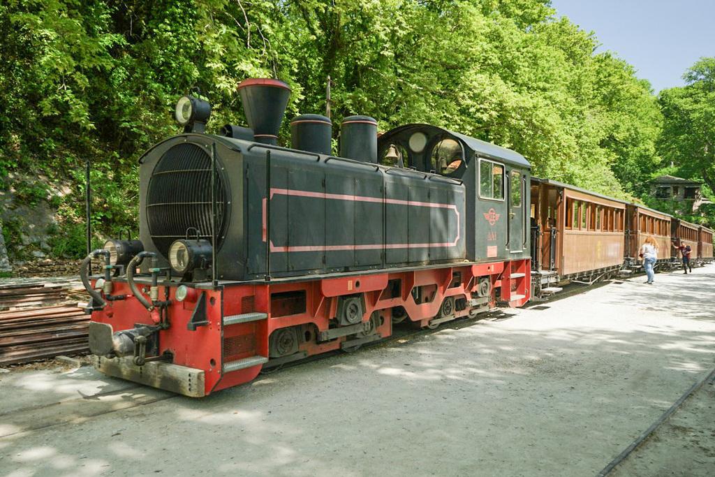 Diesellok im Kleid einer historischen Dampflokomotive, Schienenwanderung, Pelion, Pilion, Griechenland