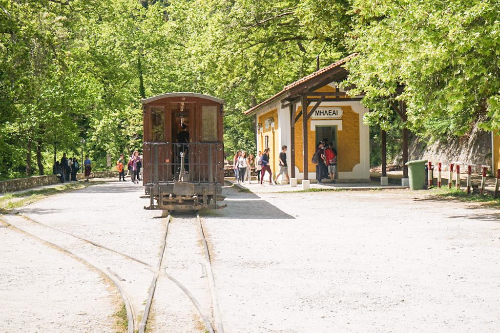 Schüler um Wagons, Schienenwanderung, Pelion, Pilion, Griechenland