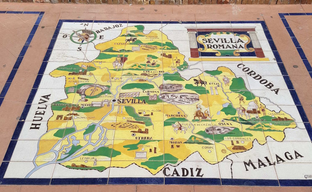 Karte auf Kacheln gemalt - Rundreise Andalusien