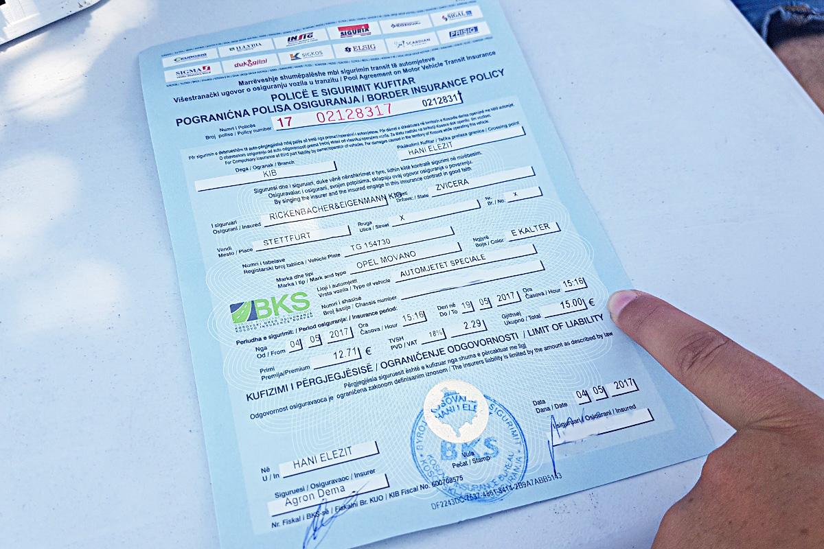 Autofahren im Kosovo, Grenzversicherung Kosovo, Versicherung lösen Kosovo
