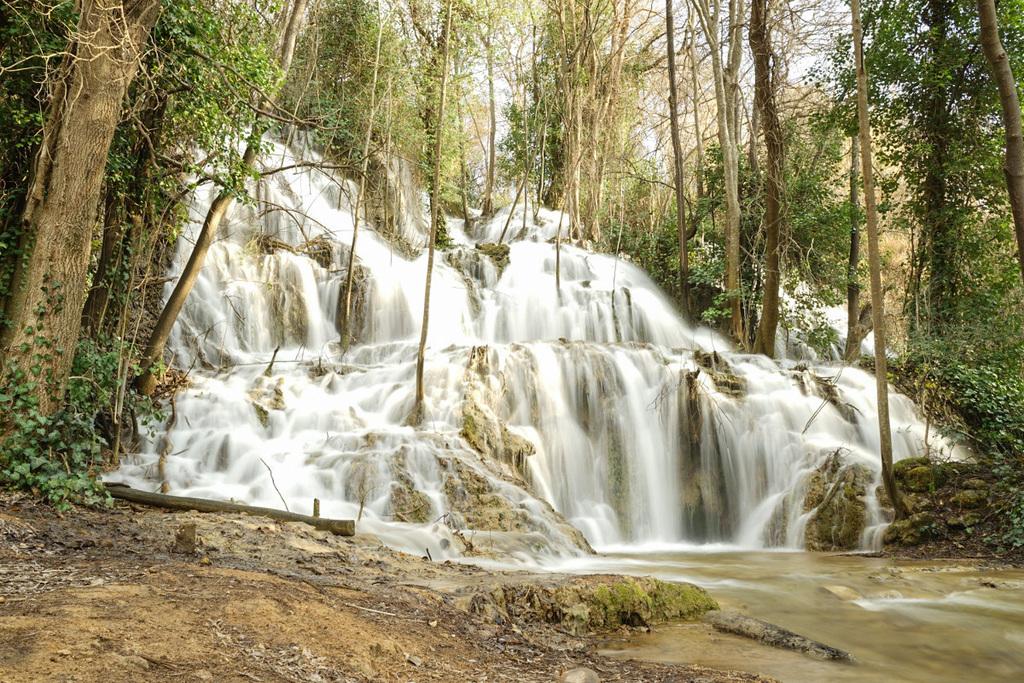 Wasserfall zwischen den Bäumen hindurch