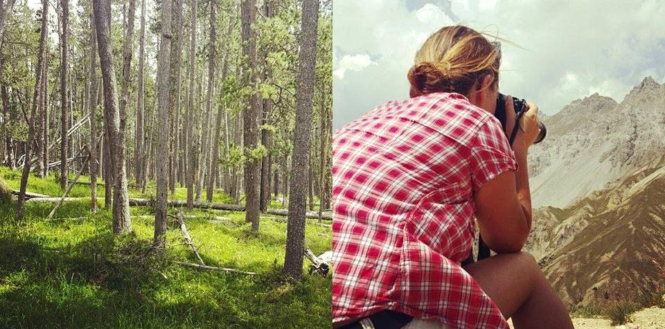 Wald, Steffi beim Fotografieren von Bergen
