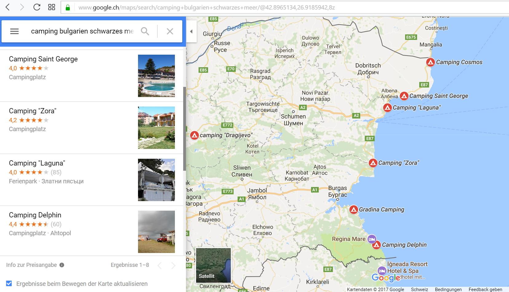 Campingplatz Suche mit Google Maps - funktioniert sehr gut!