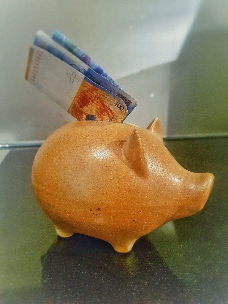 Sparschwein mit Note