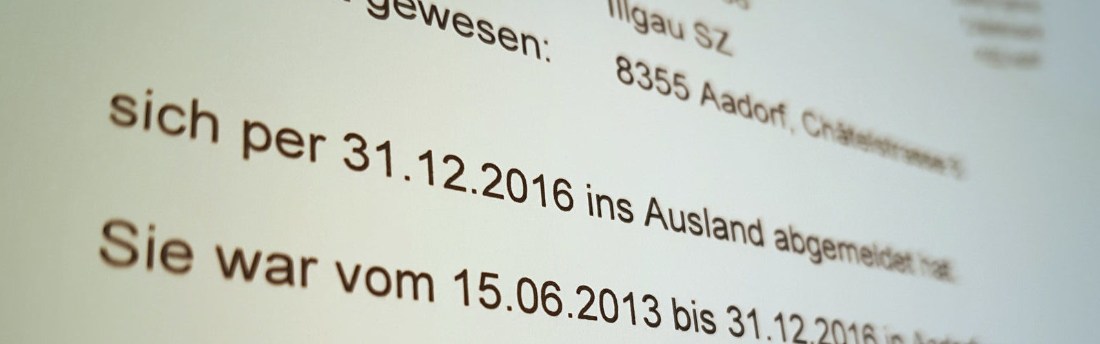 offizielles Abmeldedokument der Gemeinde ...per 31.12.2016 ins Ausland abgemolden - Reisevorbereitung