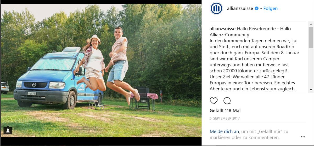 Comewithus2: Vorstellungspost auf Instagram-Kanal von Allianz Suisse