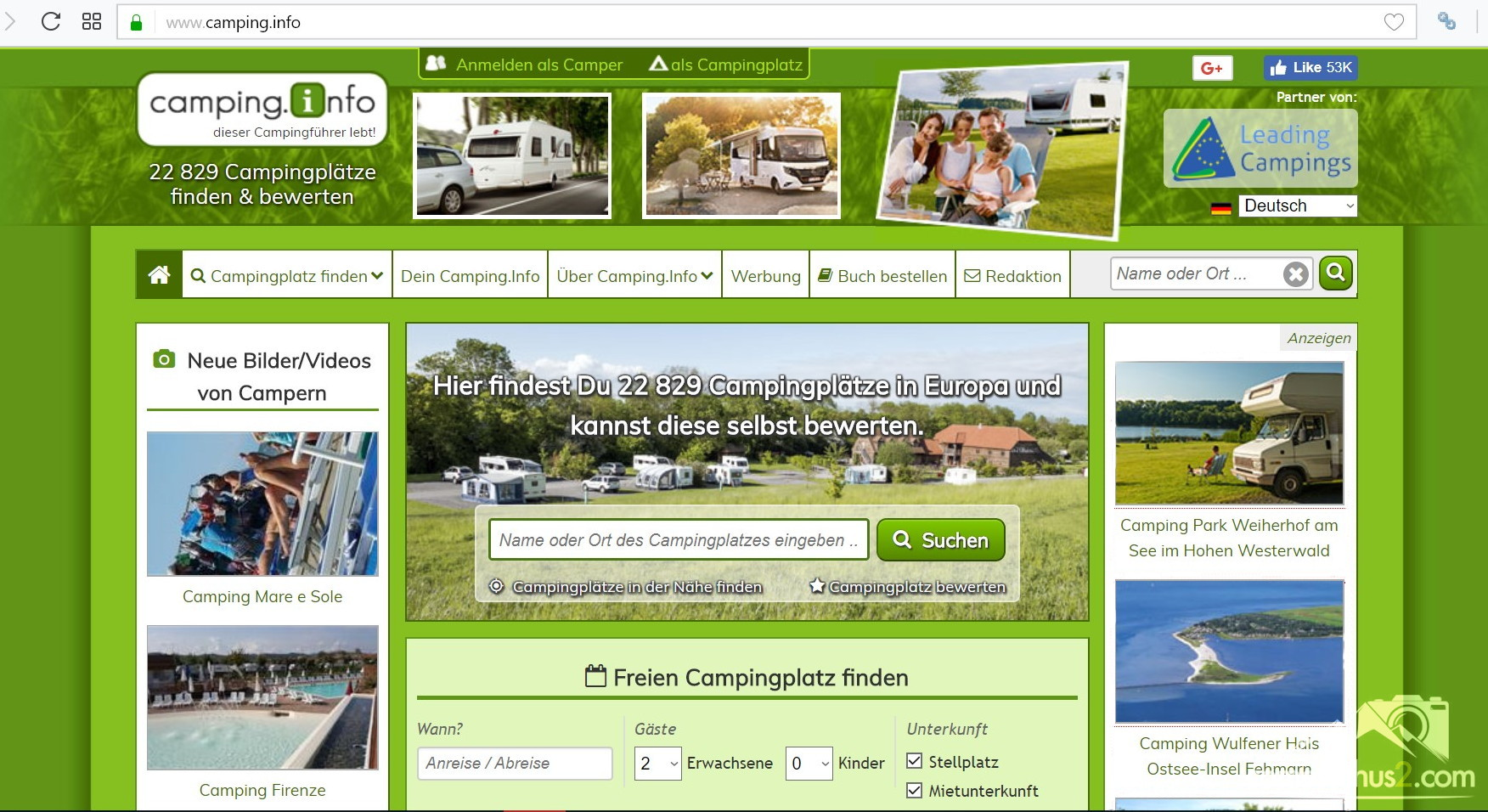 Camping.Info - Campingplatz suchen