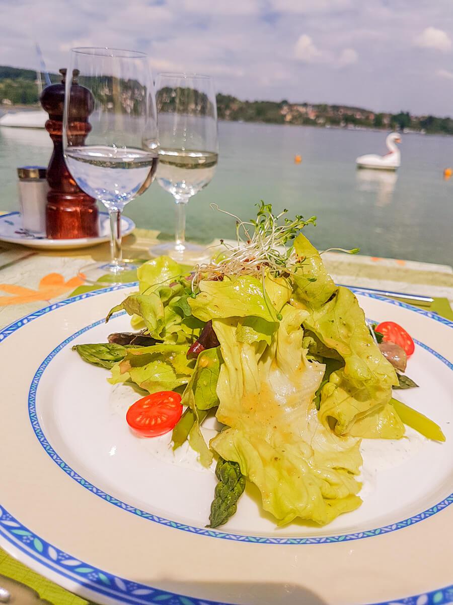 Spargelsalat Seerestaurant Frohsinn Terrasse
